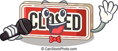 porta, anexado, sinal, fechado, cantando, caricatura