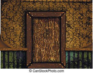 porta, antigas, madeira