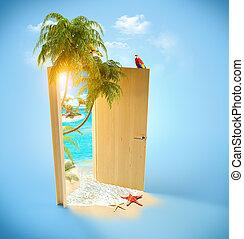 porta, aperto, viaggiare, tropicale, fondo, paradise.
