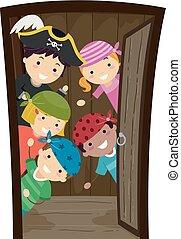 porta apre, illustrazione, stickman, nave, pirati, bambini