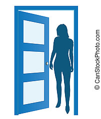 porta azul, mulher, silueta, aberta