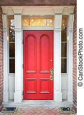 porta, bianco, colonne, rosso