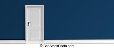 porta blu, banner., parete, illustrazione, sfondo scuro, chiuso, marina, bianco, 3d