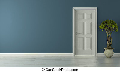 porta blu, pavimento, parete, americano, chiuso, riflessivo