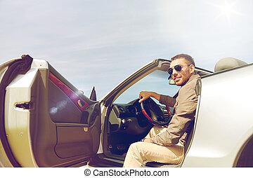 porta, cabriolet, apertura, automobile, fuori, uomo, felice