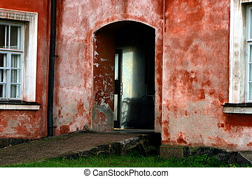porta, casa, vecchio, rosso, helsinki