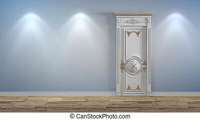 porta, classico, parete, luce, ies, luci, legno, bianco