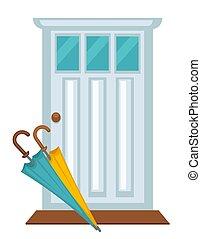 porta, coloridos, casa, dois, frente, branca, guarda-chuvas