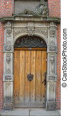 porta, com, decorado, portal