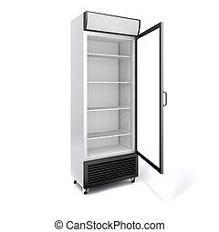 porta, comercial, refrigerador, vidro, fundo, branca, 3d