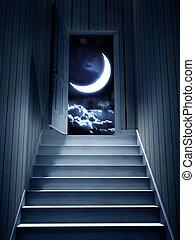 porta, condurre, scuro, passi, seminterrato, aperto