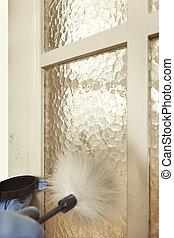 porta, desenvolvendo, escova, impressão digital, interior, latente, pena