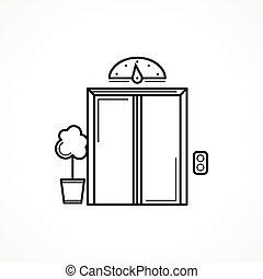 porta, elevador, vetorial, pretas, fechado, linha, ícone