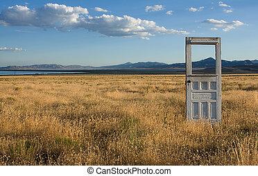 porta, ficar, em, paisagem montanha
