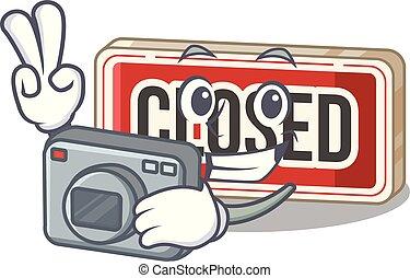 porta, fotógrafo, anexado, sinal, fechado, caricatura