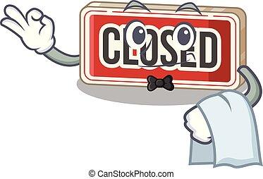 porta, garçom, anexado, sinal, fechado, caricatura