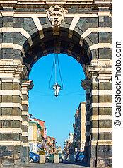 Porta Garibaldi gate in Catania - Close-up of Porta...