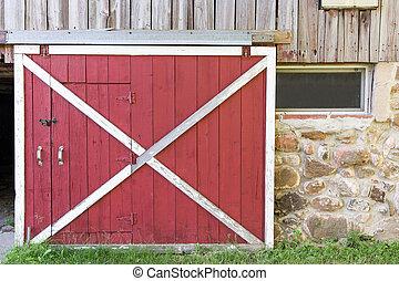 porta, granaio, rosso