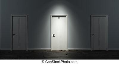 porta, iluminado, fila