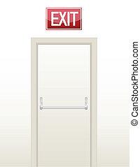 porta, ilustração, saída, emergência