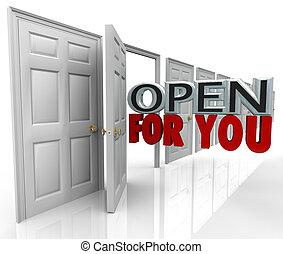 porta, invitante, apertura, always, benvenuto, parole, lei, aperto