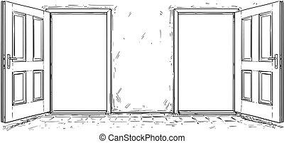 porta, legno, decisione, due, vettore, aperto, cartone ...