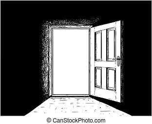 porta, legno, decisione, vettore, aperto, cartone animato