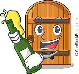porta, legno, vendemmia, birra, cartone animato, mascotte