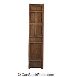porta, legno, vendemmia, isolato, fondo, bianco