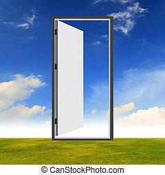 porta, ligado, a, campo