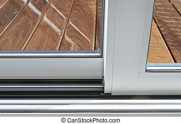 porta móvel vidro, detalhe, e, trilho, embed, em, chão