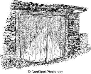 porta, madeira, antigas