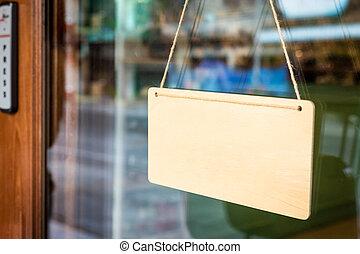 porta, madeira, sinal branco, corda, tábua, penduradas