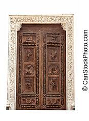 porta, madeira, sobre, croce, isolado, experiência., santa, igreja, florença, branca, principal