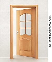 porta, madeira, vidro