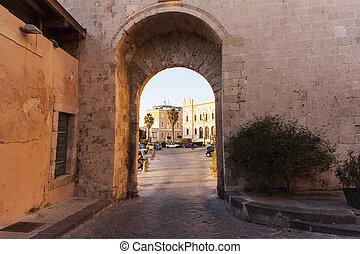 Porta Marina, Ortigia - SIRACUSA, ITALY - DECEMBER, 31: View...
