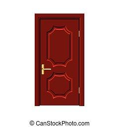 porta marrom, madeira, isolado, vetorial, branca