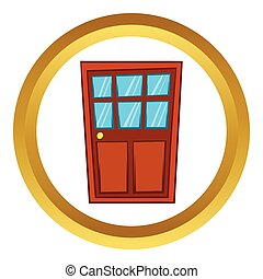 porta marrom, madeira, vidro, vetorial, ícone