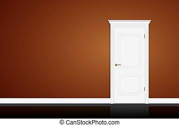 porta marrom, wall., vetorial, fechado, branca