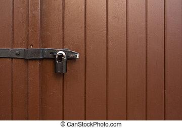 porta marrone, spazio, dipinto, serratura, outdoor., ferro, appendere, copia