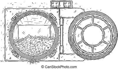 porta, monete oro, cartone animato, vettore, mucchio, volta, aperto, disegno