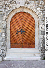 porta, muro pietra, legno