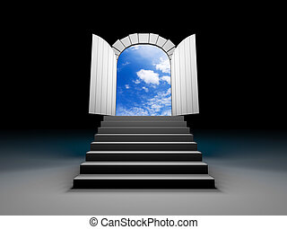 porta, para, azul, céu claro, com, steps., 3d, ilustração