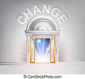porta, para, mudança