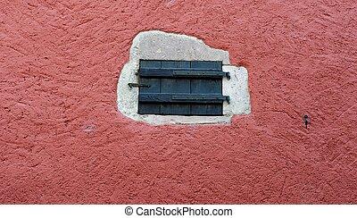 porta, parete, intonacare, chiuso, piccolo, rosso