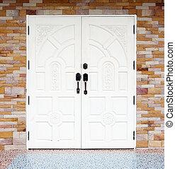 porta, parete legno, fondo, texuture, mattone, bianco