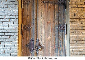 porta, parete, vecchio, legno, pietra