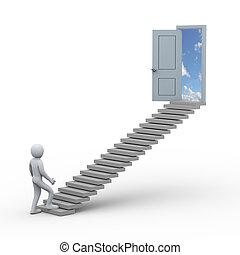 porta, persona, scala, aperto, 3d