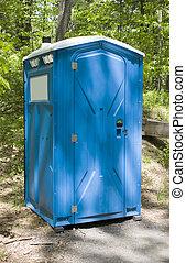 Porta Potty - A blue porta potty located on the hiking trail