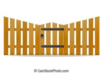 porta, recinto, legno, illustrazione, sportello, vettore